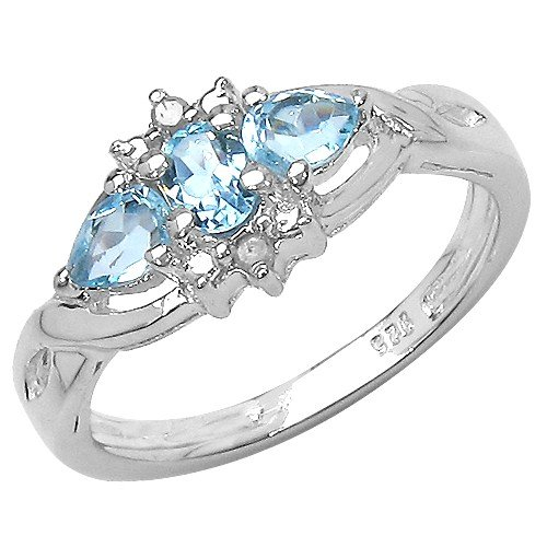 The Blue Topaz Ring Collection: Ladies Sterling Silver Blue Topaz & Diamond Engagement Ring (Size N)