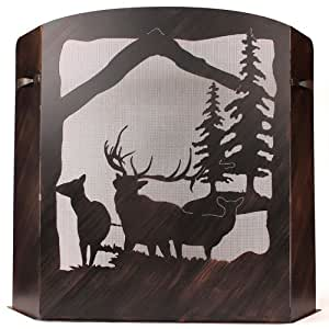 small fireplace screen elk scene with burnt