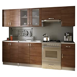 Kitchen cabinet unit set 2 4m light brown for Kitchen unit set