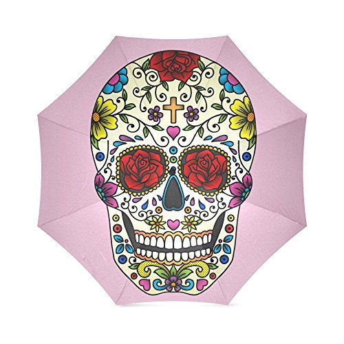 Beautiful Sugar Skull Design Folding Rain Umbrella/Parasol/Sun Umbrella