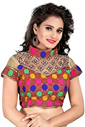 Puffin fashion Multi Color Fabric Cotton Embroidered Readymade Designer Fancy Blouse