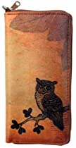 Lavishy Owl Bird Hipster Vintage-Inspired Wristlet Vegan Zip-Around Wallet Brown
