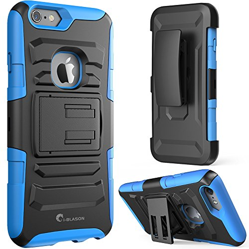 iPhone 6s Case ,i-Blason Prime [Kickstand] Also Fit Apple iPhone 6 Case (4.7) Dual Layer Holster Cover with [Locking Belt Swivel Clip] (Blue)