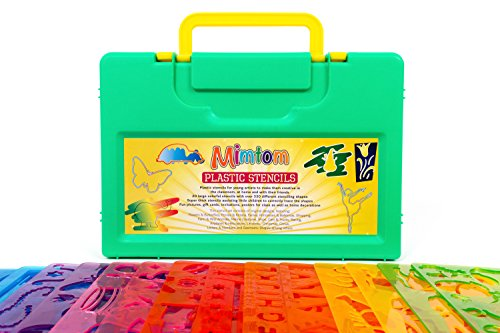 Mimtom Drawing Stencils for Kids - More Than 370 Shapes - 20 Piece Plastic Stencil Set in Case - Draw Letters Alphabets Numbers Animals and More