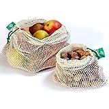 Wiederverwendbare Obst- und Gemüsebeutel aus Bio-Baumwolle mit Kordelzug - Einkaufsnetz