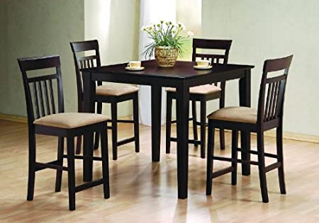 Counter Dining Room Wood Table Set Chair Kitchen Chairs