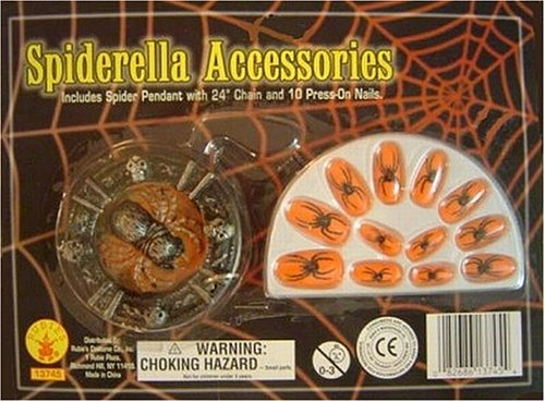 Buy Spiderella Accessory Fingernails Spider Medallion Pendant Spider Web Press on Finger Nails Halloween Costume Kit