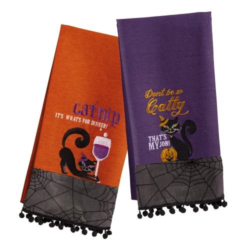 Grasslands Road Pretty Wicked Black Cat Tea Towel Set