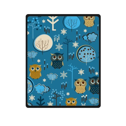 Fashion Blanket Personalized Cute Cartoon Owls With Trees Picture Fleece Blanket 40 X 50 Machine Washable