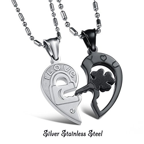 Morenitor[TM]Couple Necklace set Stainless Steel Silver Black Heart Shape Key Matching Set Necklace for Women's/ Men's/ Teen Girls Gift .