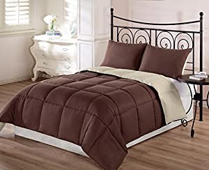 Chezmoi Collection 3-Piece Super Soft Goose Down Alternative Reversible Comforter Set, Queen/Full, Brown Tan