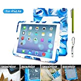 ACEGUARDER Apple Ipad Air Ipad 5 Case Waterproof Rainproof Shockproof Kids Proof Case for Ipad 5 (Gifts Outdoor Carabiner + Whistle + Handwritten Touch Pen) (Aceguarder Brand) (NAVY/WHITE)