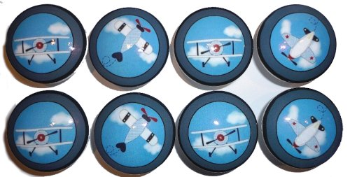 Set of 8 Baby Aviator Airplane Dresser Drawer Knobs (Airplane Dresser Knobs compare prices)