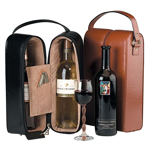 Royce Leather Double Wine Presentation Case - Genuine Leather - Coco front-722803