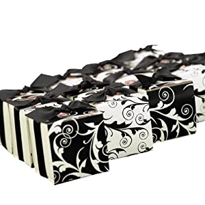 Hortense B. Hewitt Wedding Accessories, Favor Boxes with Reversible Black and White Flourish Wrap, 2-Inches Square, Package of 25