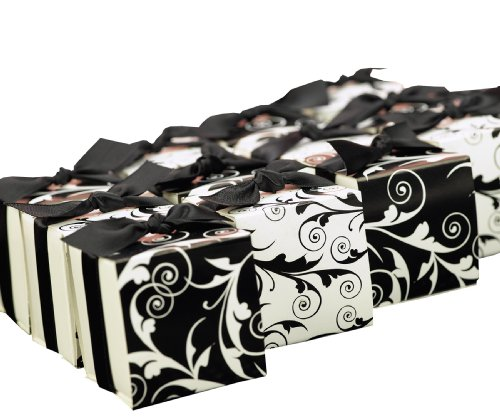 Hortense B. Hewitt Wedding Accessories, Favor Boxes with Reversible Black and White Flourish Wrap, 2-Inches Square, Pack Candleage of 25