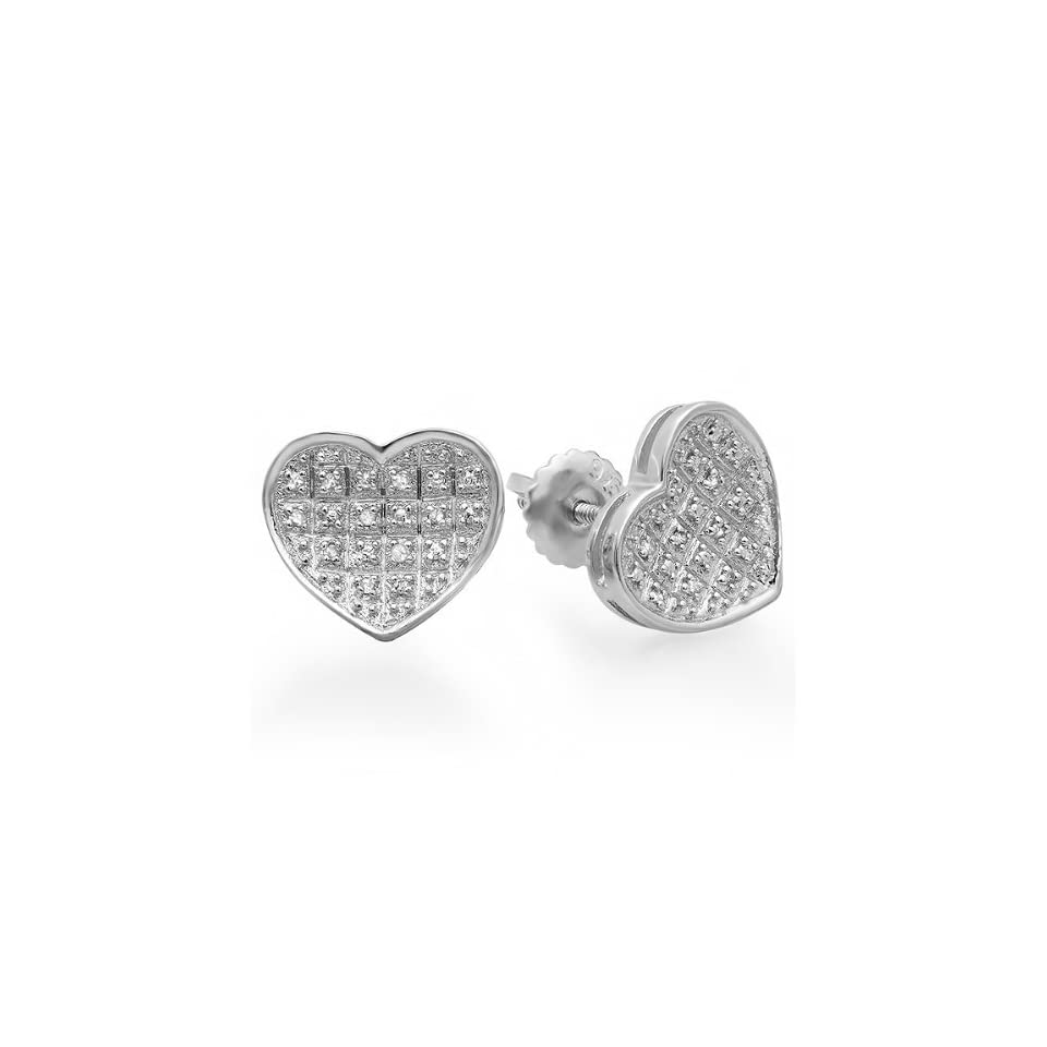 10f46c6589a21 0.10 Carat (ctw) Platinum Plated Sterling Silver Real Diamond Heart ...