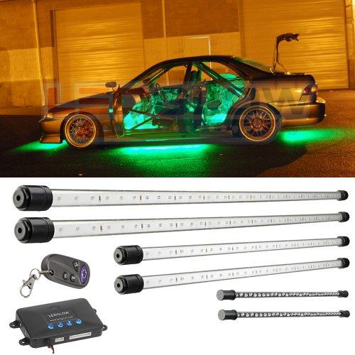 6Pc Green Wireless Led Underbody & Interior Kit