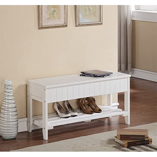White Finish Solid Wood Storage Shoe Bench Rack Shelf
