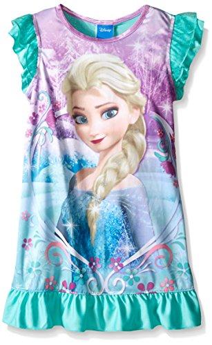 Disney Big Girls Frozen Elsa Frosted Filigree Fun Nightgown Teal 10