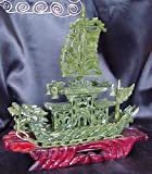 Small Chinese Jade Dragon Ship 20cm Long Statue Sculpture