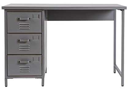 Bureau en métal vintage gris, H73 x L110 x P55 cm - PEGANE -