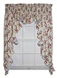 Sweetheart Floral Ruffle 3 Piece Swag Curtains Set 135-Inch-by-54-Inch - 1 1/2 Inch Rod Pocket