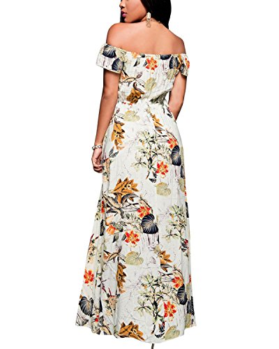 BIUBIU Women's Off Shoulder Floral Rayon Party Maxi Split Romper Dress S
