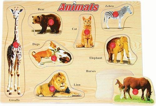 Picture of Fun Animals - Wooden Peg Puzzle (B002P8ZI5W) (Pegged Puzzles)