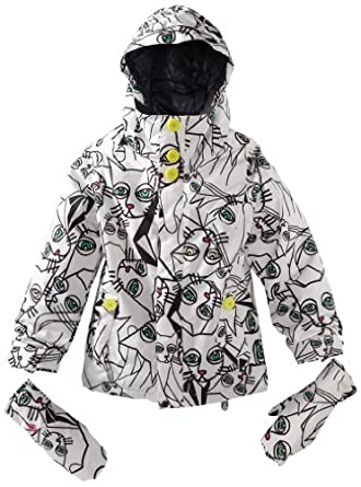 Volcom Big Girls'  Poppins Insulated Jacket, Cats Collage, X-Small