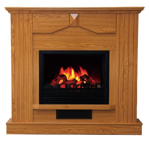 Quality Craft Mm870P-47Ago Electric Fireplace Heater With 750-Watt To 1500-Watt Adjustable Temperature Control And 47-Inch Mantel, Golden Oak Color