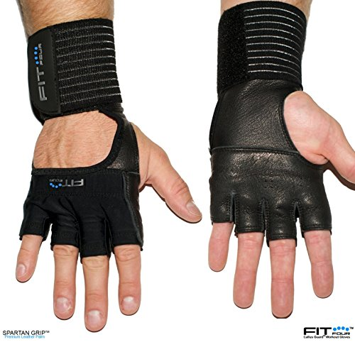 The F4X Spartan - Full Leather Palm | Fit Four Callus Guard WOD Workout Gloves for Weight Lifting & Cross Training Athletes (Leather, Medium) (Keychain Fire Emblem compare prices)
