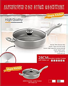 Utopia Kitchen Professional Nonstick 11-inch Jumbo Cooker, Dishwasher Safe, Cookware with Glass Lid, 5.5-Quart