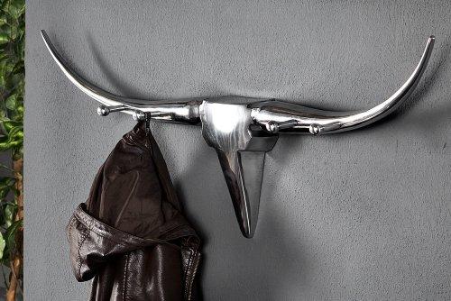 Design-Garderobe-BULL-Alu-Wanddekoration-Geweih-Stier-Alu-100cm