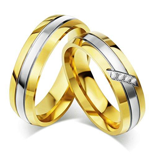 Bishilin Acciaio Inossidabile Argento e Oro Bicolore Anelli Coppia Anello Fedine Anelli No CZ Sotne Misura 22