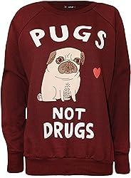 Fashion Charming- Womens Pugs Not Grugs Dog Print Long Sleeve Sweatshirt Top