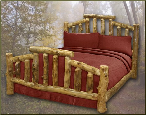 queen size aspen mountain cottage log bed