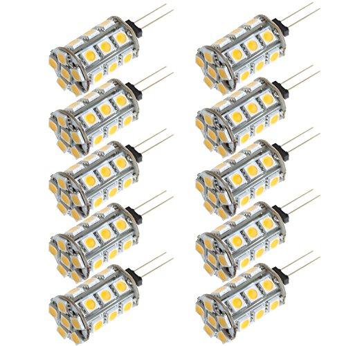 Arlybaba 10 Pack (10 Pcs/Lot) G4 Type 24 Led Light (18+6) Bulb Lamp 3.5 Watt Halogen Bulbs Ac Dc 12V Cool White Undimmable 5050 Emitter Quivalent To 30W Incandescent Bulb Replacement