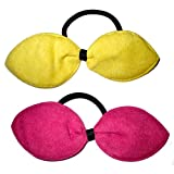 2 pack of hair bows in yellow and bright pink - fashionable / fashion / christmas. Birthday or Christmas gift. Perfect stocking fillers , gift ideas