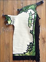 Hilason Smooth Leather Chaps Pro Rodeo Bronc Bull-Riding Show Off White Green by HILASON