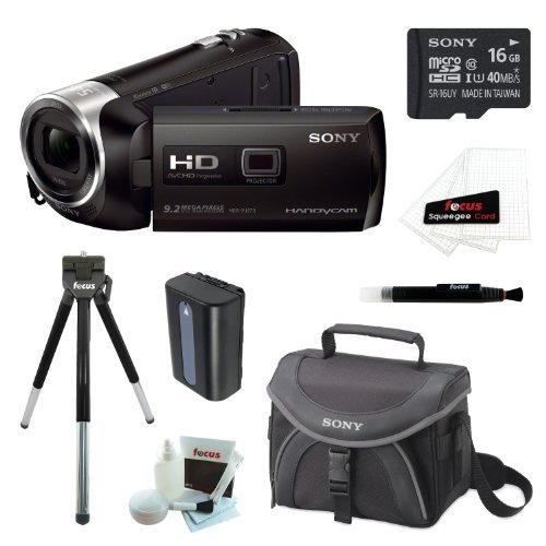 Sony HDR-PJ540/B HDRPJ540 PJ540 32GB Full HD 60p Camcorder w/ built-in Projector + Sony MicroSD 16GB + Replacement NP-FV50 Battery + Sony Case + Accessory Kit