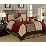 Textiles Plus 7-Piece Micro Suede Patchwork Bed-in-a-Bag Comforter Set, Queen, Brown/Burgundy