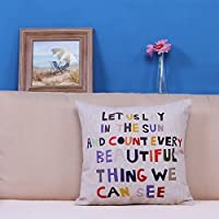Cotton Linen Square Decorative Throw Pillow Case Cushion Cover Meaningful Quotes Colorful Letters18*18 Inch(45CM*45CM) from littlekelly