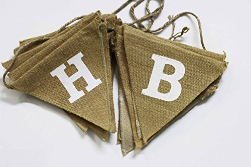 Discover Bargain Happy Birthday Banner- Burlap Banner - Rustic Burlap Birthday Banner - Rustic Elega...