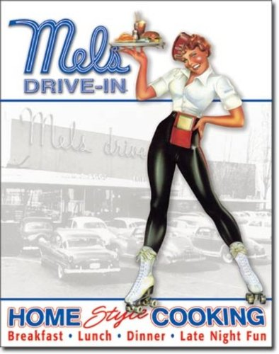 "Mels Diner - Car Hop Tin Sign 12.5"" X 16"" , 12X16"
