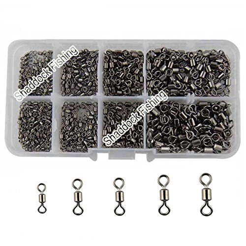 Shaddock Fishing ® 500pcs/box Size 2 4 6 8 10 Fishing Rolling Swivel High-strength Stainless Steel Rolling Barrel Swivel Fishing Tackle-30Lb to 350 Lb (Fishing Swivels And Clips compare prices)