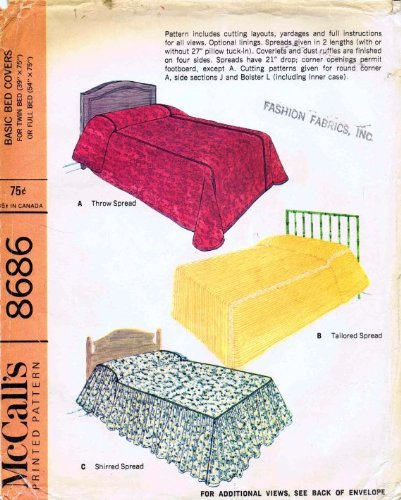 Mccall'S 8686 Vintage Sewing Pattern Twin Or Full Size Basic Bed Covers front-976920