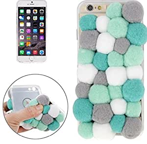CABLESETC Colorful Cotton Fur Ball Soft TPU Fashion Back Case For Apple iPhone 6S 6 -Green