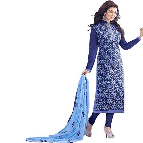 C&H Blue Cotton Semi-Stitched Salwar Suits