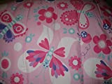 Mytex Caroline Butterflies and Flowers Reversible Comforter Set with Decorative Pillow & Decals Twin Size